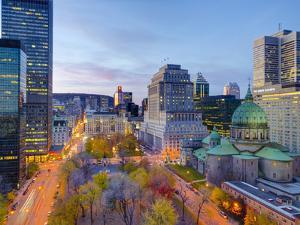 Canada, Quebec, Montreal, Place Du Canada and Dorchester Square, Cathedral-Basilica of Mary, by Alan Copson