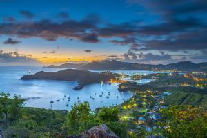 Caribbean, Antigua, English Harbour from Shirley Heights, Sunset by Alan Copson