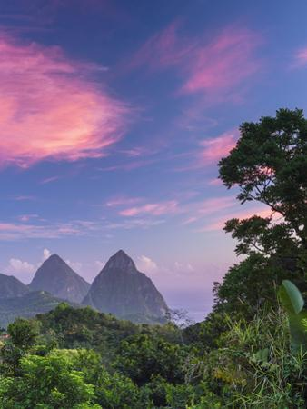 Caribbean, St Lucia, Petit and Gros Piton Mountains (UNESCO World Heritage Site) by Alan Copson