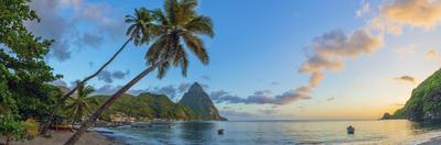 Caribbean, St Lucia, Soufriere, Soufriere Bay, Soufriere Beach and Petit Piton by Alan Copson