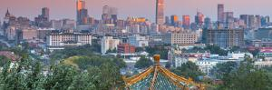 China, Beijing, Jingshan Park, Pavillion and Modern Chaoyang District Skyline Beyond by Alan Copson