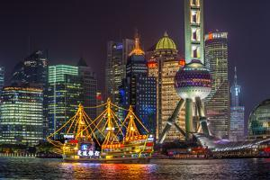 China, Shanghai, Pudong District, Financial District Including Oriental Pearl Tower by Alan Copson