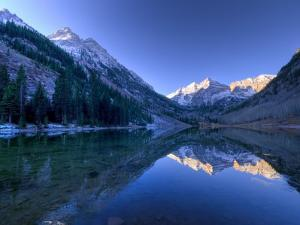 Colorado, Maroon Bells Mountain Reflected in Maroon Lake, USA by Alan Copson