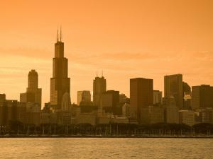 Lake Michigan and Skyline Including Sears Tower, Chicago, Illinois by Alan Copson