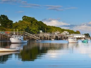 Lobster Fishing Boats and Jetties, New Harbor, Pemaquid Peninsula, Maine, New England, USA by Alan Copson