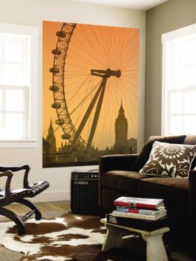 London Eye and Big Ben, South Bank, London, England by Alan Copson