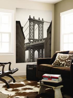 Manhattan Bridge and Empire State Building, New York City, USA by Alan Copson