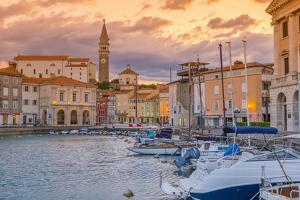 Old Town Harbour, Church of St. George (Cerkev Sv. Jurija) in Background, Piran by Alan Copson