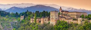 Spain, Andalucia, Granada Province, Granada, Alhambra Palace and Sierra Nevada Mountains by Alan Copson