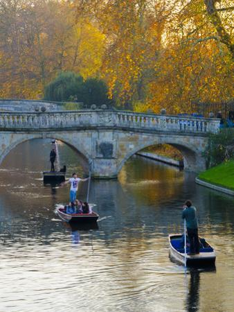 UK, England, Cambridge, the Backs, Clare and King's College Bridges over River Cam in Autumn by Alan Copson