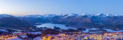 UK, England, Cumbria, Lake District, Keswick and Derwentwater at night by Alan Copson