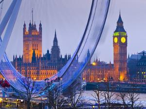 UK, England, London, London Eye, Houses of Parliament and Big Ben by Alan Copson