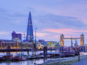 UK, England, London, River Thames, the Shard and Tower Bridge by Alan Copson