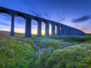 UK, England, North Yorkshire, Ribblehead Viaduct on the Settle to Carlisle Railway Line by Alan Copson