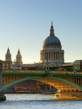 Uk, London, St; Paul's Cathedral and Canon Street Railway Bridge across River Thames from Southwark by Alan Copson