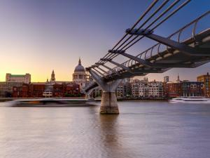 Uk, London, St; Paul's Cathedral and Millennium Bridge over River Thames by Alan Copson