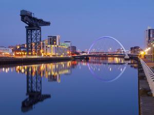 UK, Scotland, Glasgow, River Clyde, Finnieston Crane and the Clyde Arc, Nicknamed the Squinty Bridg by Alan Copson