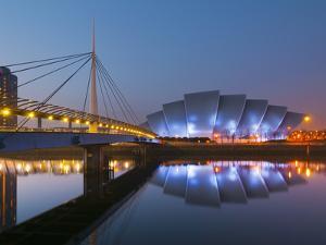 UK, Scotland, Glasgow, Scottish Exhibition and Conference Centre Secc, or Armadillo, Beside River C by Alan Copson