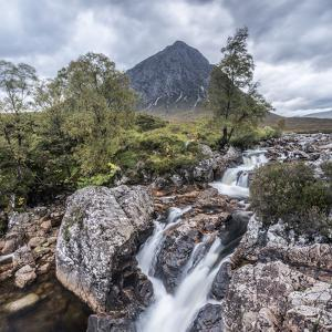UK, Scotland, Highland, Glen Coe, River Coupall, Coupall Falls and Buachaille Etive Mor by Alan Copson