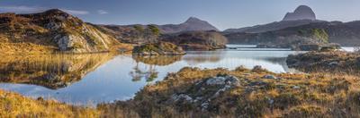 UK, Scotland, Highland, Sutherland, Lochinver, Loch Druim Suardalain, Mount Canisp (centre) and Mou by Alan Copson