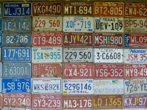 USA, Missouri, Route 66, Near Carthage, Car Number Plates by Alan Copson