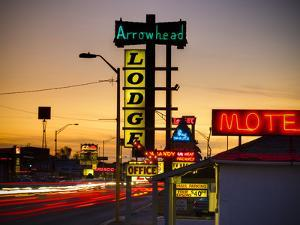 USA, New Mexico, Route 66, Gallup, Motel Signs by Alan Copson