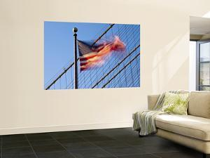 Usa, New York, Manhattan, Brooklyn Brisge and Stars and Stripes Flag by Alan Copson
