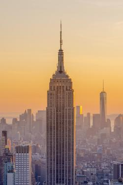 Usa, New York, Midtown and Lower Manhattan, Empire State Building and Freedom Tower by Alan Copson