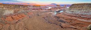 Usa, Utah, Glen Canyon National Recreation Area, Lake Powell, Gunsight Bay at Dusk from Romana Mesa by Alan Copson