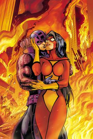 Avengers No.17 Cover: Spider Woman and Hawkeye Hugging
