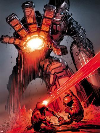 X-Men: Schism No.4: Sentinel, Cyclops, and Wolverine Fighting