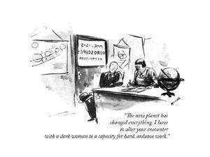 """""""The new planet has changed everything. I have to alter your encounter wit…"""" - New Yorker Cartoon by Alan Dunn"""