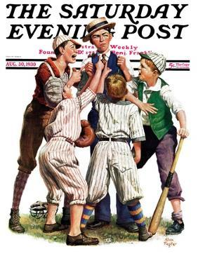 """""""Arguing the Call,"""" Saturday Evening Post Cover, August 30, 1930 by Alan Foster"""