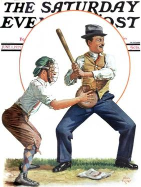 """""""Dad at Bat,"""" Saturday Evening Post Cover, June 1, 1929 by Alan Foster"""