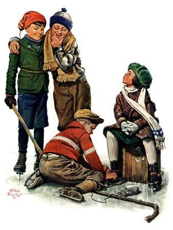 """Hockey Waits, Tying Skates,""December 17, 1927"