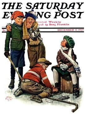 """Hockey Waits, Tying Skates,"" Saturday Evening Post Cover, December 17, 1927 by Alan Foster"