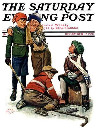 """Hockey Waits, Tying Skates,"" Saturday Evening Post Cover, December 17, 1927"