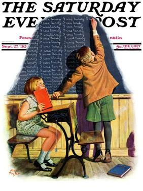 """""""'I Was Tardy',"""" Saturday Evening Post Cover, September 27, 1930 by Alan Foster"""