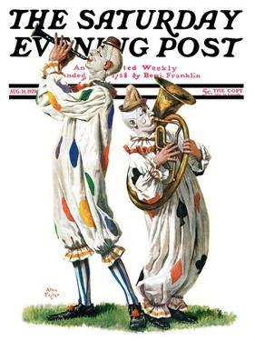 """Musical Clowns,"" Saturday Evening Post Cover, August 10, 1929 by Alan Foster"