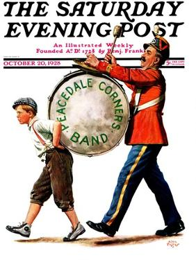 """""""Peacedale Corners Band,"""" Saturday Evening Post Cover, October 20, 1928 by Alan Foster"""