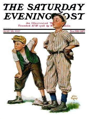 """""""Safe on Base,"""" Saturday Evening Post Cover, May 28, 1927"""