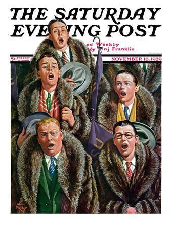 """Singing Men in Raccoon Coats,"" Saturday Evening Post Cover, November 16, 1929"