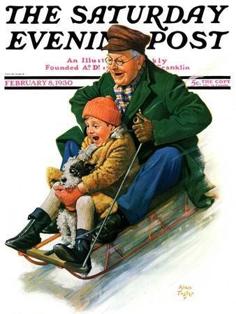 """Sledding with Grandpa,"" Saturday Evening Post Cover, February 8, 1930"