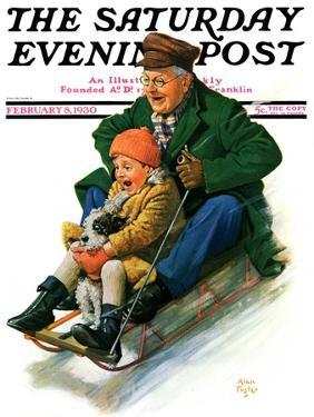 """""""Sledding with Grandpa,"""" Saturday Evening Post Cover, February 8, 1930 by Alan Foster"""