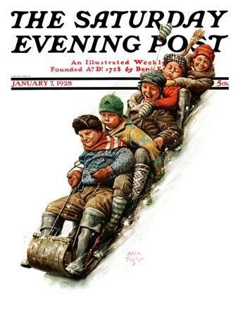 """Tobogganing,"" Saturday Evening Post Cover, January 7, 1928"