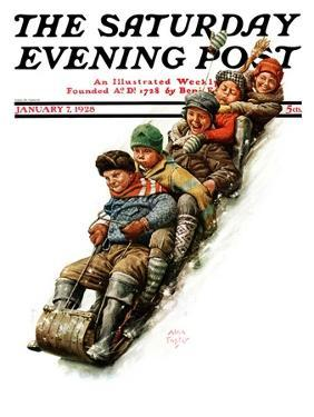 """""""Tobogganing,"""" Saturday Evening Post Cover, January 7, 1928 by Alan Foster"""