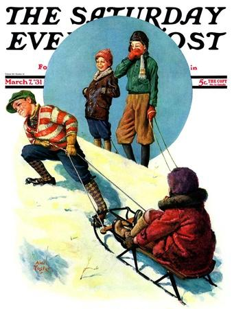 """""""Uphill Sledding,"""" Saturday Evening Post Cover, March 7, 1931"""