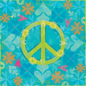 Peace Sign Floral Hearts I by Alan Hopfensperger