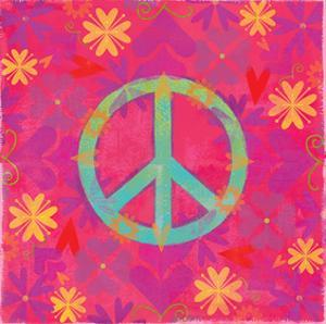 Peace Sign Floral Hearts II by Alan Hopfensperger