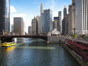 Boat and River, Chicago River, Chicago, Illinois, Usa by Alan Klehr